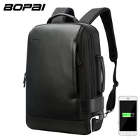 BOPAI Brand Enlarge Backpack USB External Charge 15 6 Inch Laptop Backpack Shoulders Men Anti Theft