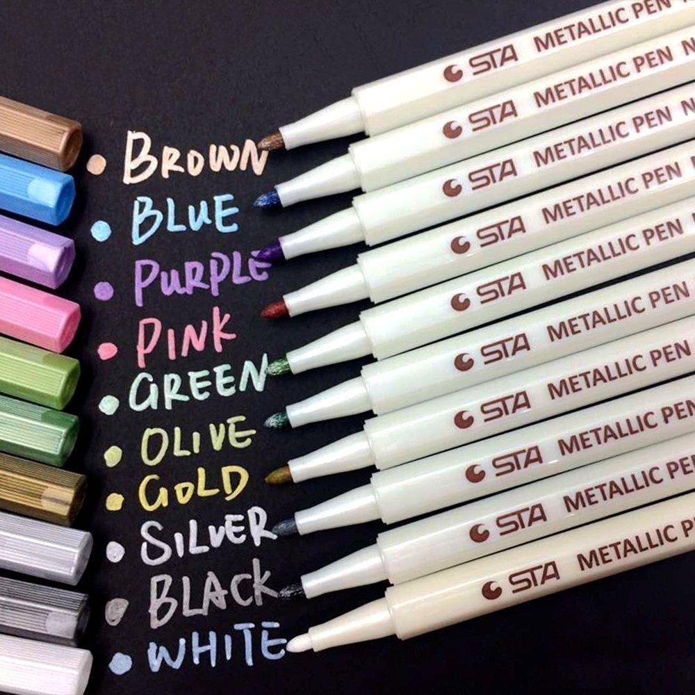 6/10pcs Premium Metallic Marker Pens For Adult Coloring Books Art Rock Painting Card Making Metal,Ceramics,Glass Fine Tip 6451#
