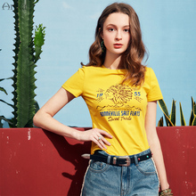 ARTKA 2019 Summer New Women Cotton T-Shirt Loose Casual Letters Printed O-Neck Short Sleeve Black Yellow Tide Tops Tee TA10491X цена
