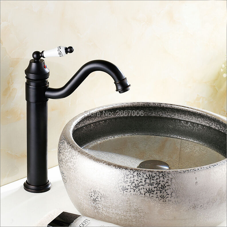 GIZERO Antique Retro Oil Rubbed Black Bronze Swivel Faucet Singe Handle Single Hole Basin Deck Mounted