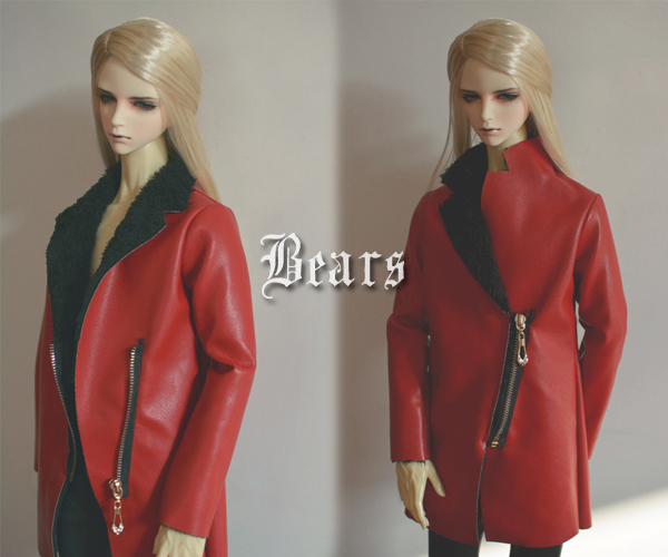 Red leather coat For BJD 1/3  ,SD17 ,UNCLE Doll Clothes Accessories fashion black turtleneck sweater for bjd 1 3 sd17 uncle doll clothes accessories