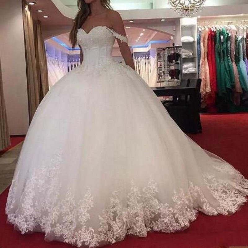 Vestido De Noiva Gorgeous Wedding Dresses Lace Up Woman Gown Appliques Floral Wedding Dress Custom Made