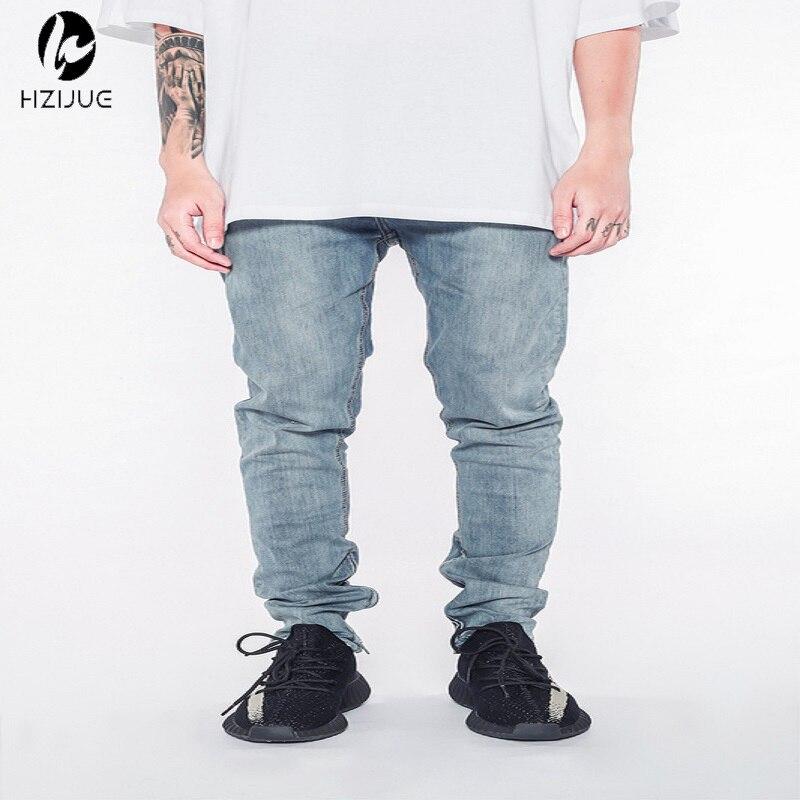 HZIJUE korean jumpsuit mens designer clothes urban clothing club fashion singer justin bieber blue skinny ankle zipper jeans