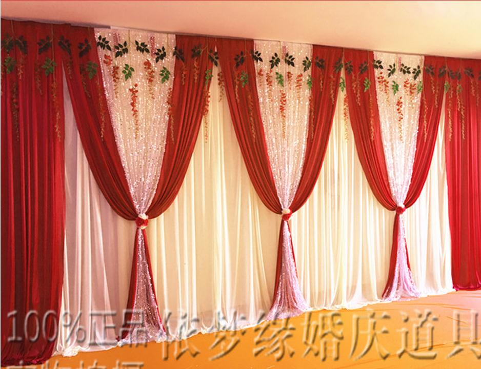 Satin Red Wedding Backdrop Curtain With Swag Wedding Decoration
