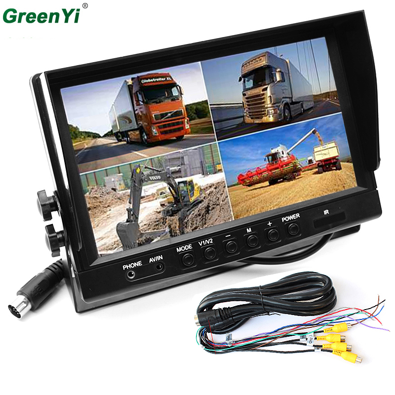 HD 800 480 9 TFT LCD Quad Split Monitor for Auto Truck CCTV Surveillance 4 Channels