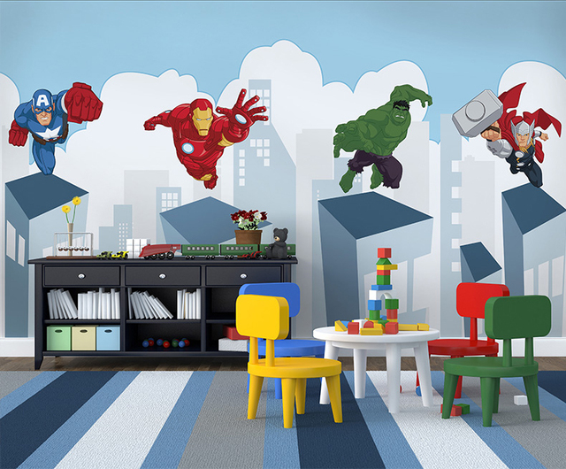 Cartoon Superman Wallpaper Mural Wall Photo For Baby Child Room Sofa Background Spider