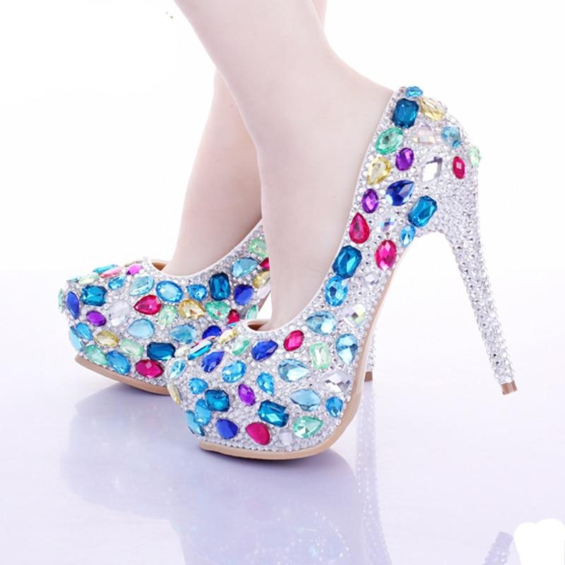 2018 Luxury Rhinestone Wedding Bride Shoes Multi Crystal Bridal Sheos Evening Party Prom Shoes Custom Made Valentine High Heels