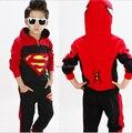 Детей Комплектов Одежды Baby Дети Мальчики Мультипликационный Персонаж С Длинным Рукавом Костюм Человек-Паук Супермен С Капюшоном Одежда Детская Одежда