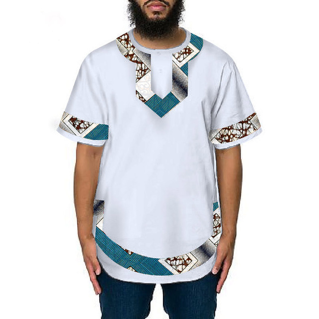 d32c23dc0 Fashion African Traditional Dashiki t shirt Men Fashion white+Print  Patchwork Tops Short Sleeve Africa Clothing