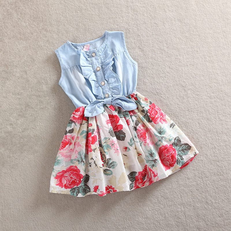 Summer Dresses For Girls Cotton Children Clothing Denim Baby Clothes Floral sleeveless Kids Clothes Girls Princess Dress 2-12T baby girls dress summer 2017 brand girls wedding dress cotton princess dress for girls clothes kids dresses children clothing