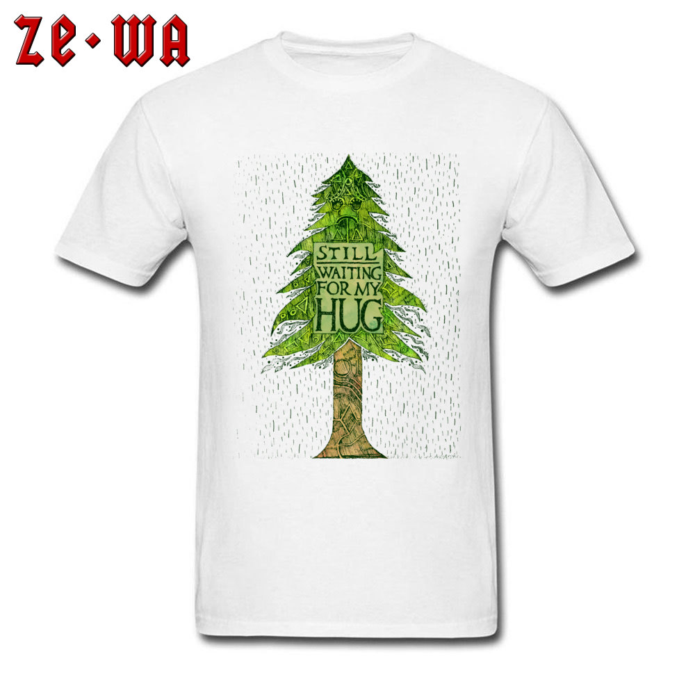 Green Pine And Cypress Trees Printed On White T Shirts STILL WAITING FOR MY <font><b>HUG</b></font> Rain Boy <font><b>Tshirt</b></font> No Glue Print Graphic T-Shirt image