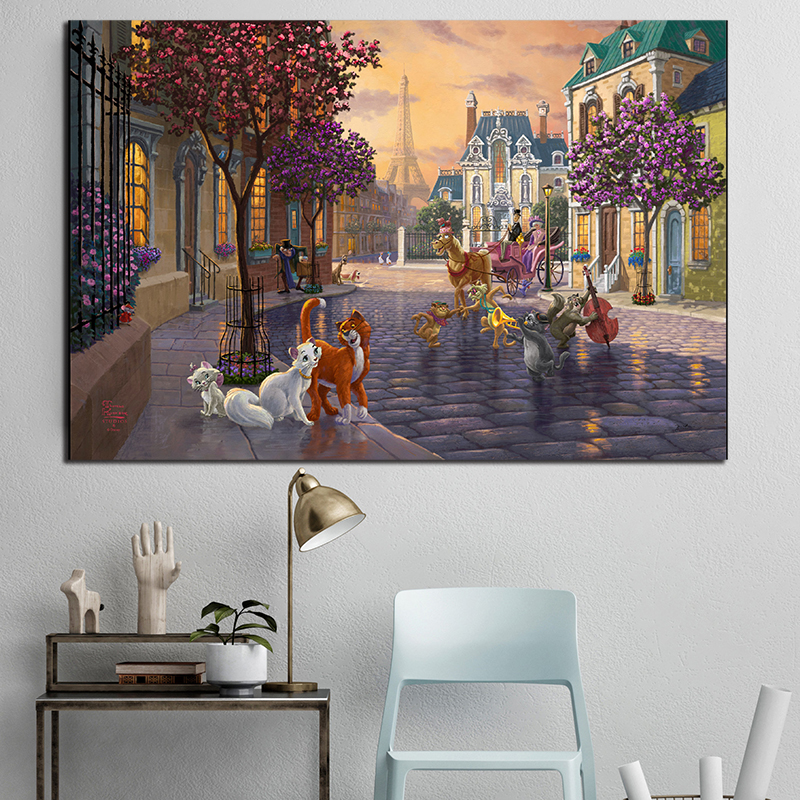 The Aristocats Beautiful Painting Thomas Kinkade  Posters And Prints Decorative Wall Art Pictures For Living Room Home Decor
