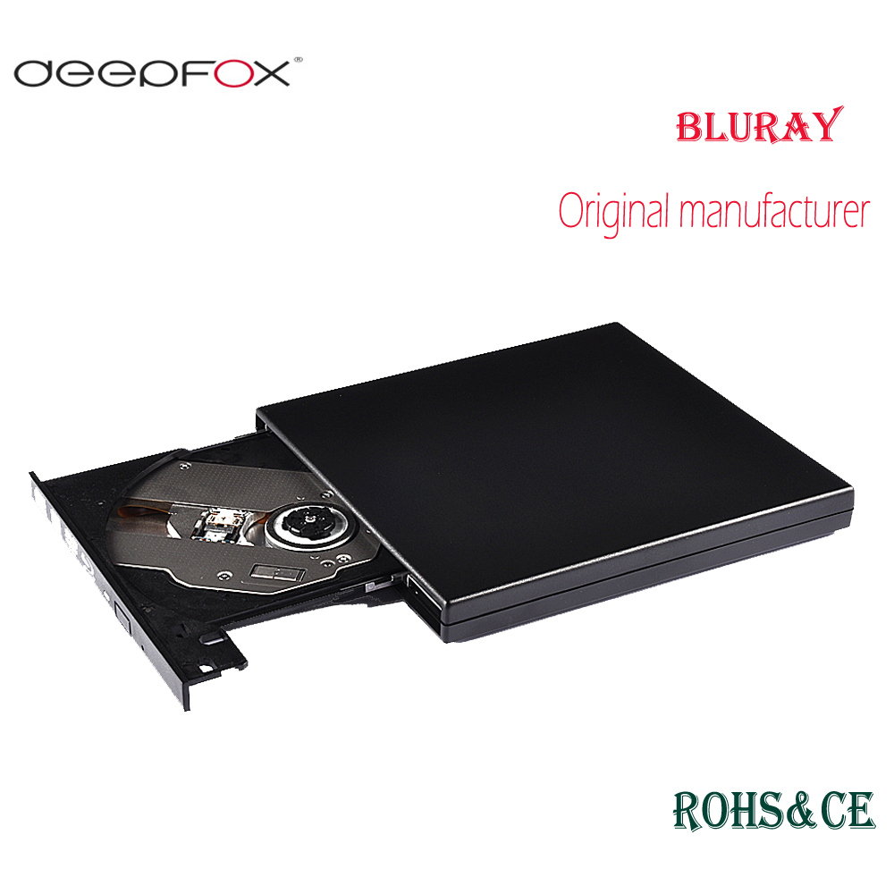Deepfox USB2.0 Bluray Drive External CD/DVD RW Burner BD-ROM Blu-ray Player Optical Drive Writer For Apple Macbook Laptop usb3 0 bluray drive external bluray combo read blu ray disc 3d and write normal cd dvd aluminium support windows10 and mac