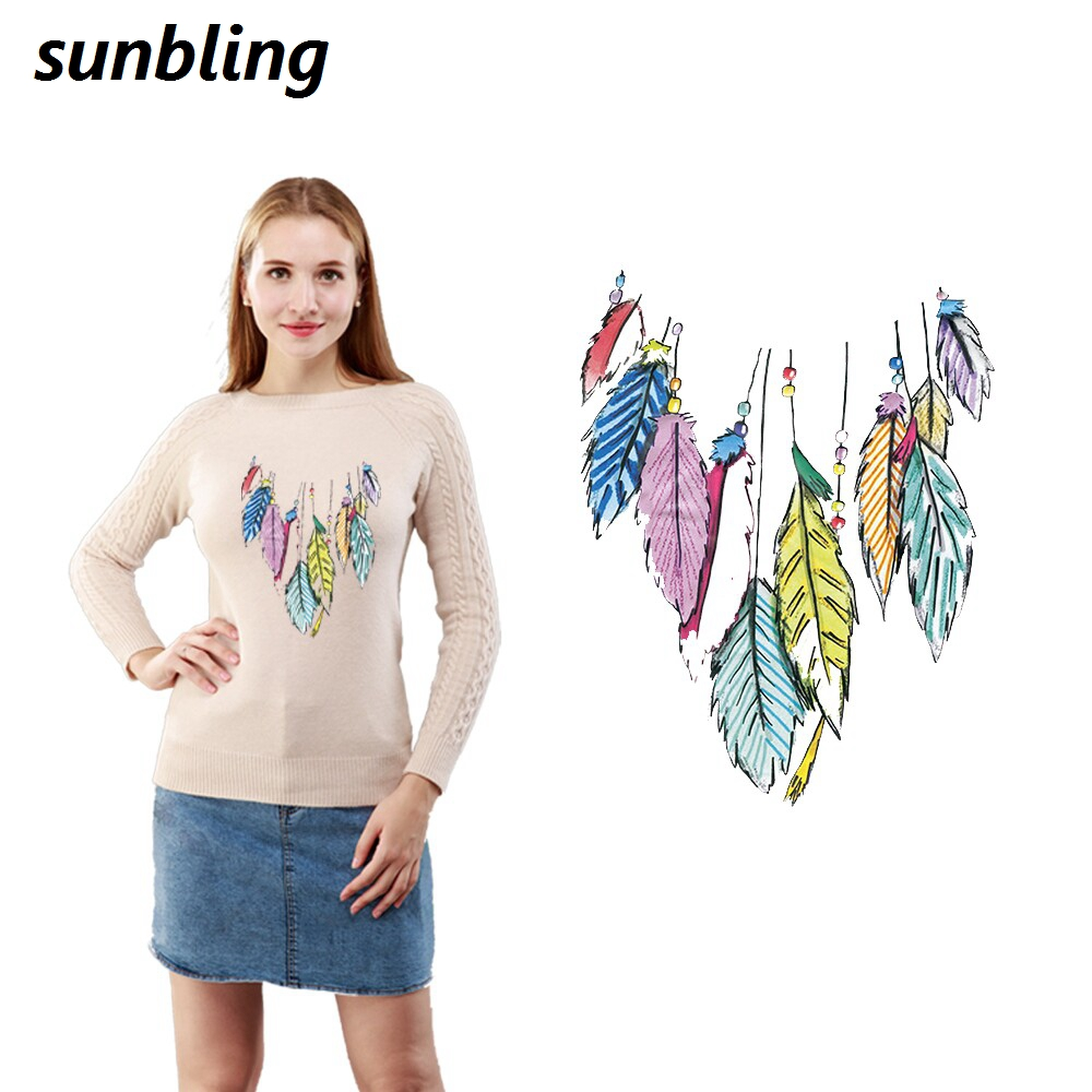 Sunbling Patches Feather 3D Printed Patch Transfer Iron On Cloth T-shirt Clothes Patch For Women and Children Washable Sticker