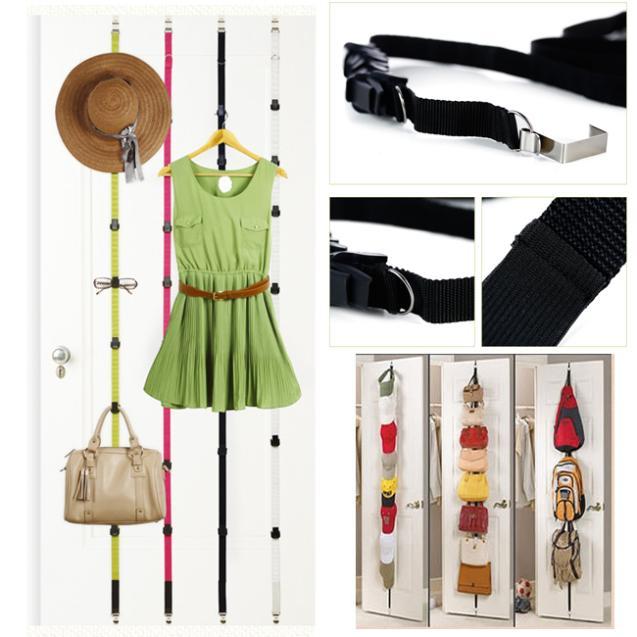 free shipping straps hanger adjustable over door hat bag clothes rack holder organizer 8 hooks