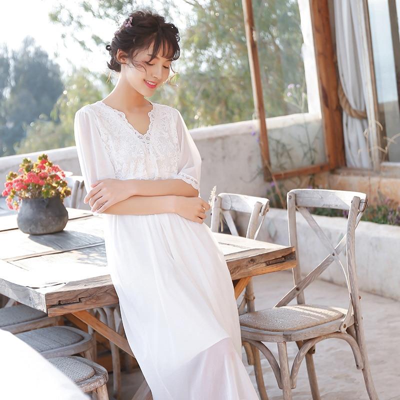 2019 New Chiffon Spring Summer Sleepwear Women Long Nightgowns Sleepshirts Half Sleeve Nightdress Home Clothes Dropshipping