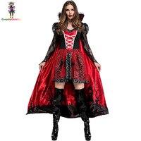 Deluxe Halloween Party Adult Women Blood Vampire Vixen Countess Costume Cemetery Scene Printed Female Cloak & Dresses Size S XL