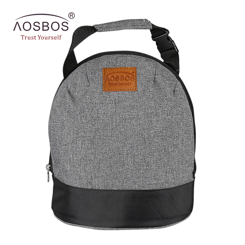 Aosbos Oxford Insulated Lunch Bags for Women Kids Portable Grey Thermal Lunch Bag Box Men Food Picnic Bento Cooler Bag Tote купить недорого в Москве