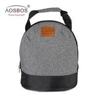 Aosbos Oxford Isolierte Mittagessen Taschen für Frauen Kinder Tragbare Grau thermische Lunchpaket Box Männer Lebensmittel Picknick Bento Kühltasche Tote