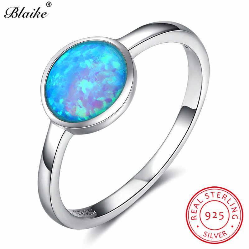 Blaike Classic Round Stone Blue Fire Opal Ring 100% Real 925 Sterling Silver Rainbow Opals Birthstone Wedding Bands Fine Jewelry