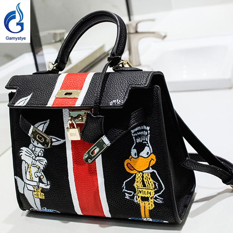 Cat and duck handbags Genuine Leather women famous  Messenger Bag Hand Painted Custom painting ladies totes handle clutch YG naked and famous naked and famous in rolling waves 2 lp