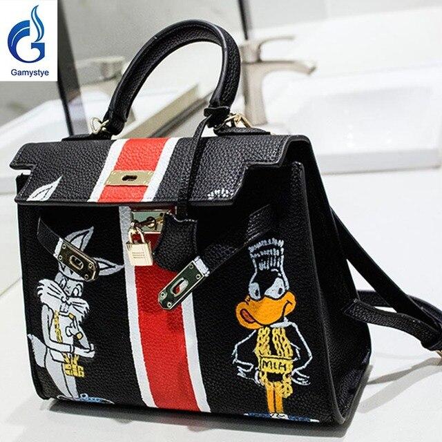 2a486a16f32 Kat en eend handtassen Lederen vrouwen beroemde Tas Handgeschilderde Custom  schilderen dames bakken handvat clutch YG