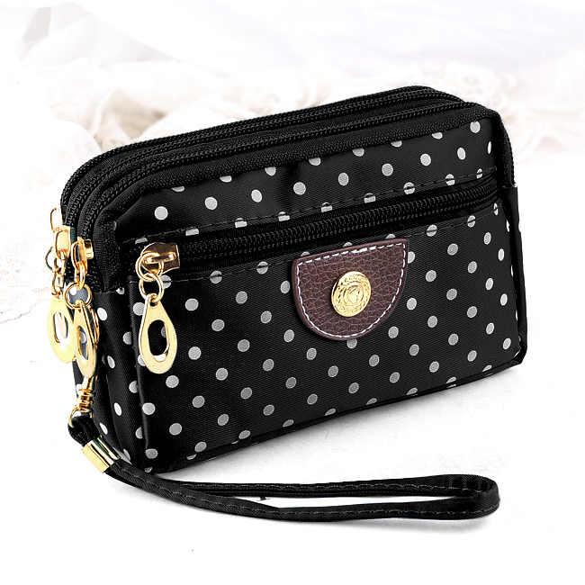 Fashion Women Wallets Small Handbags Canvas Dot Lady Zipper Moneybags Clutch Coin Purse Pocket Wallet Cards Holder Wristlet Bags