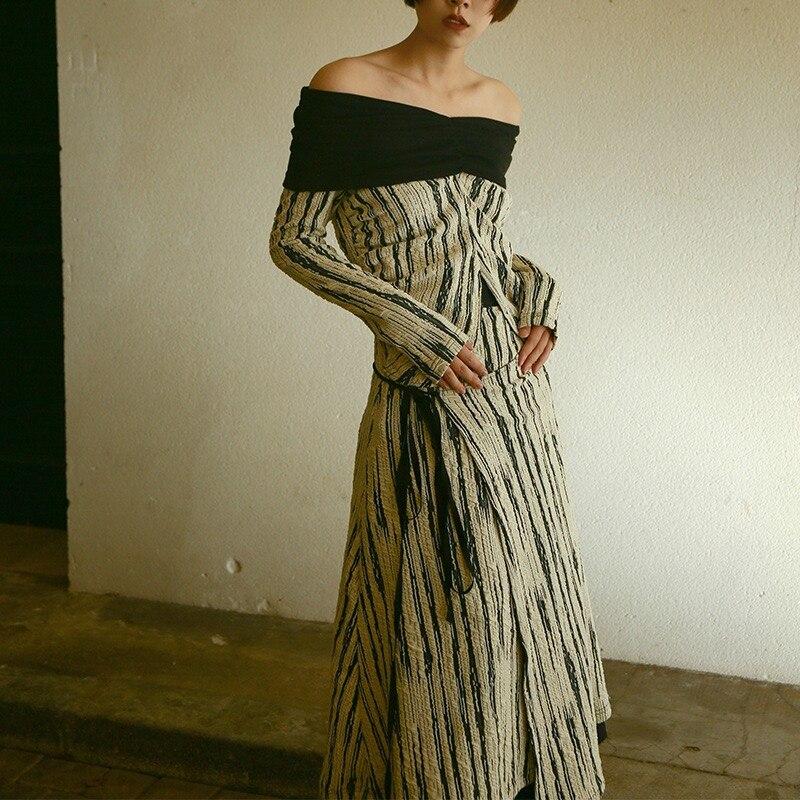Cou Hiver 2019 Vintage mollet Gloria Imprimer Robe Et Noir Automne Mi Rayé Blanc Slash Patchwork Grâce Élégant Motif 55qra7UxO