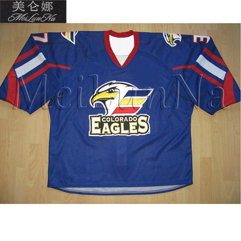 MeiLunNa Custom ECHL Colorado Eagles Hockey Jerseys Matt Register Michael Joly 12 Riley Nelson 17 Tobler Sewn On Any Name NO. epiphone ltd matt heafy signature les paul custom ebony
