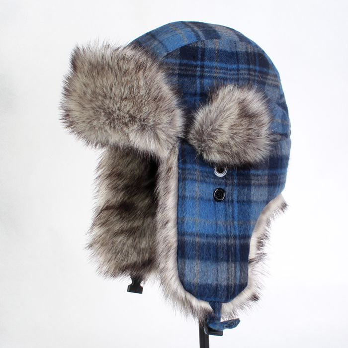 New Winter Artificial Plaid Bomber Hats Casual Men Bomber Hats Fur ... 2d07baf125b