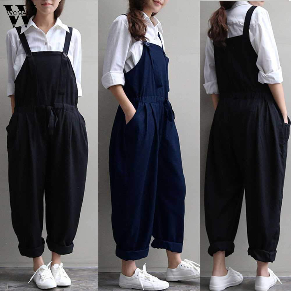 Womail Bodysuit Vrouwen Zomer Casual Plus Size Oversized Dungaree Jumpsuits Bib Losse Lange Broek Mode 2019 M1