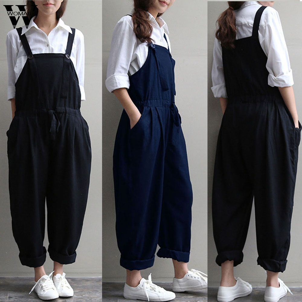 Womail Bodysuit Women Summer Casual Plus Size Oversized Dungaree Jumpsuits Bib Loose Long Trousers Fashion 2019  M1