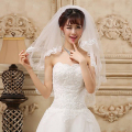 Layers 2 White Ivory Tulle Elbow Wedding Accessories Veils With Lace Applique Edge Bridal Veil With Comb