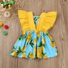CHAMSGEND Blue Fashion Kleinkind Baby Kinder Mädchen Lemon Print Flying Sleeve Prinzessin Kleid Kleidung Outfits jul24 P30