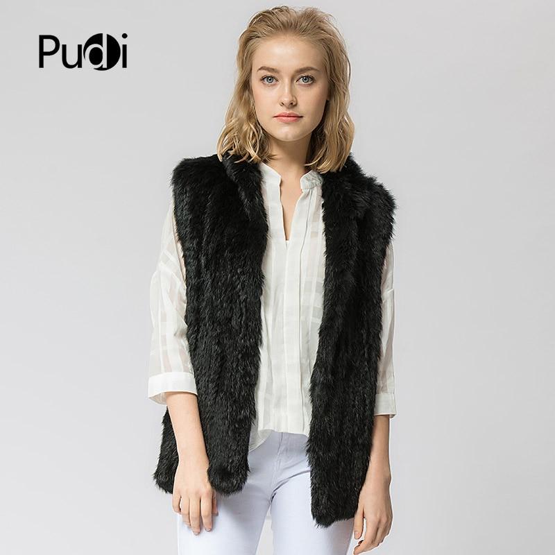 VT802 16 Colors Woman Girl Real Rabbit Fur Vest Jacket Spring Winter Warm Genuine Rabbit Fur Knit Coat Vest Black Beige