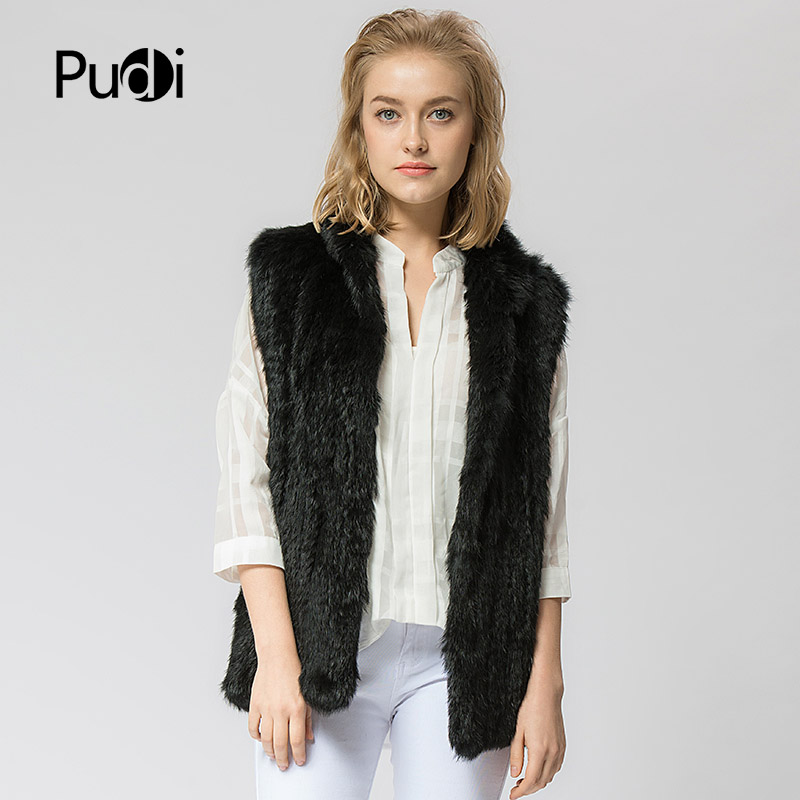 VT802 16 色の女性のガールリアルベストジャケット春冬暖かい本物のウサギの毛皮ニットコートのベスト黒ベージュ  グループ上の レディース衣服 からの 本物の毛皮 の中 1
