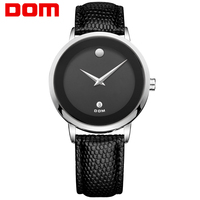 DOM Men Watch Brand Luxury Casual Automatic Date Quartz Mens Wristwatch Leather Strap Male Clock Watches