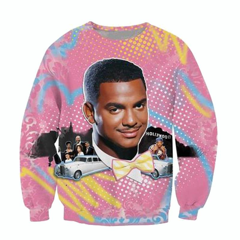 Will Smith Christmas Sweater.Us 14 51 10 Off Causal Sweatshirt Fresh Prince Christmas Crewneck Jumper Carlton Prince Will Smith With Christmas Hat Outerwear Women Men Tops In
