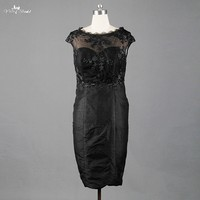 TE019 Little Black Dress See Through Knee Length Two Pieces Mother Of The Bride Dresses Plus Size