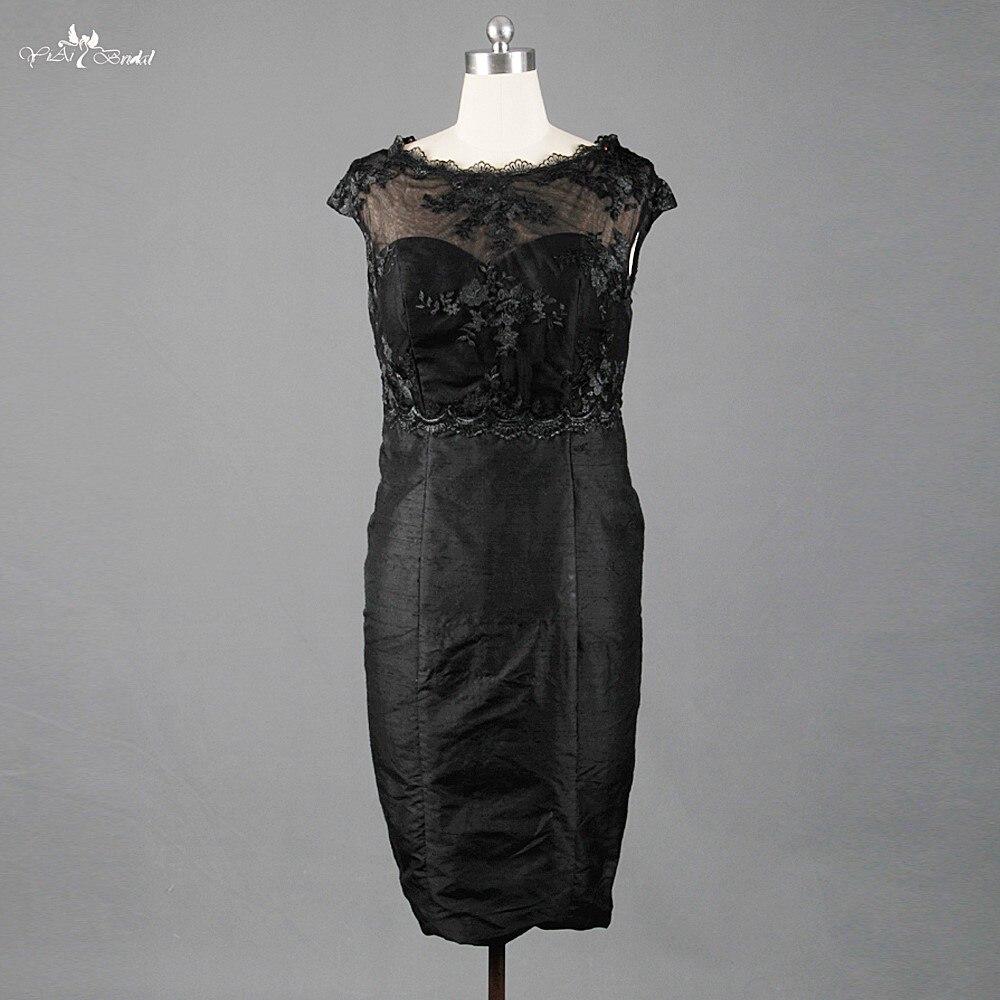 TE019 petite robe noire voir à travers la longueur du genou deux pièces mère de la mariée robes de grande taille