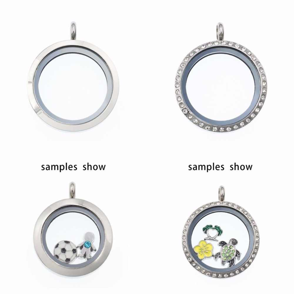 25mm 316L Stainless Steel Floating Locket Necklace Pendant Glass Floating Lockets each locket with 10pcs random charms