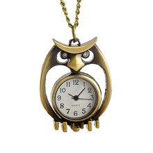 Womens Quartz Pocket Watch 1 PC Stylish Keychain Vintage Watch Necklace Diamond Owl Shape Watch Pendant On Chain Wholesale M6