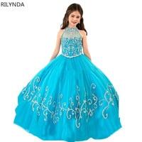 Enchanting Blue elza costume Halter Corset Party Frocks for Girls Kids Pageant Dresses Vestido Florista