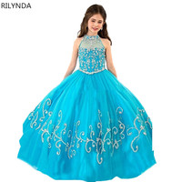 Enchanting Blue elza costume Halter Corset Party Frocks for Girls Kids Pageant Dresses Vestido Florista