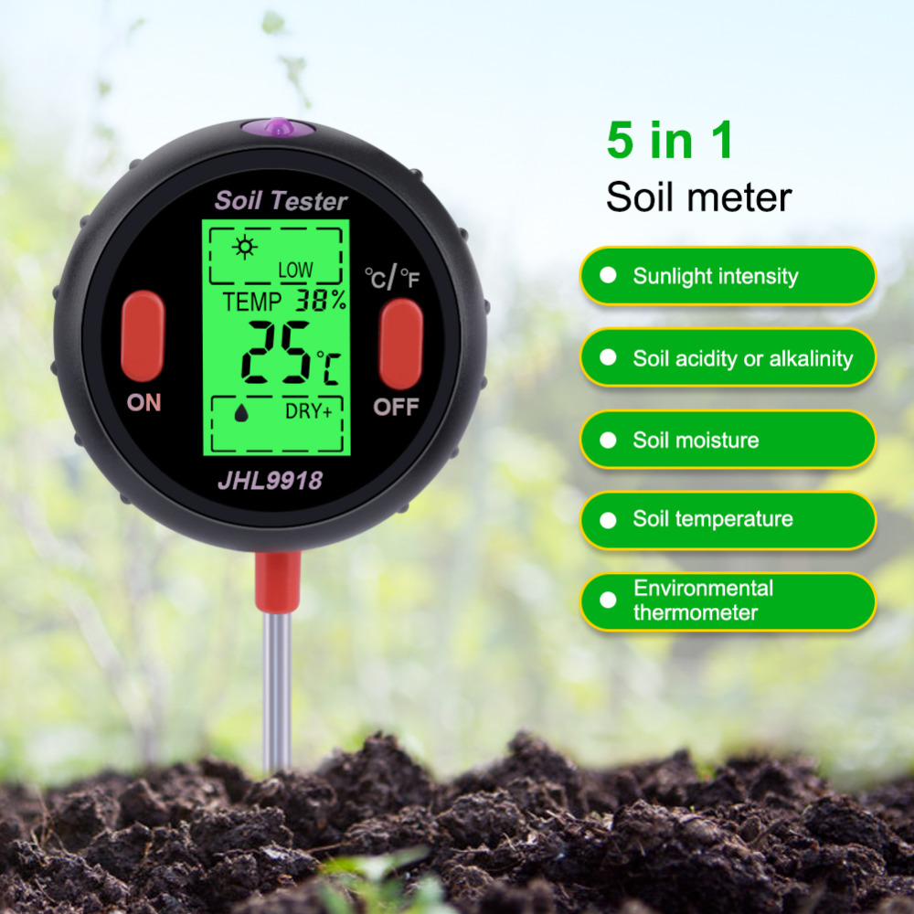 Yieryi New Soil Ph Tester Five In One (temperature / Ambient Humidity / Illuminance / PH / Soil Moisture) Soil Measurement ToolsYieryi New Soil Ph Tester Five In One (temperature / Ambient Humidity / Illuminance / PH / Soil Moisture) Soil Measurement Tools