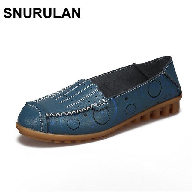 Snurulan calzado para mujer Cuero auténtico pisos madre Zapatos Niñas señora moda casual Zapatos mujeres transpirables mocasines loafe