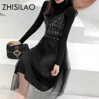 2 fotki jesień zima sukienka kobiety elegancki czarny długa sukienka z długimi rękawami Plus rozmiar Party w stylu Vintage sukienka Mujer koronki sukienki z dzianiny