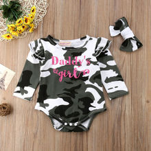 Toddler Clothing Casual Newborn Infant Baby Camo Girl Romper Headband Clothes Outfits 0-24M