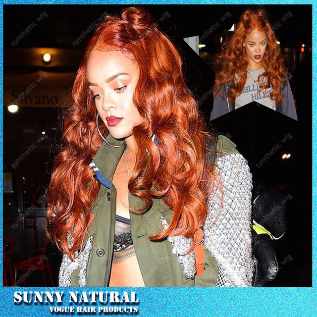 Rihanna Wig Auburn Brown Color Body Wave Synthetic Lace Glueless