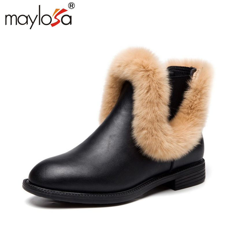 MAYLOSA New Fashion Women's Natural Fur Snow Boots 100% Genuine Leather women Boots Female Winter Shoes snow boots guess футболка
